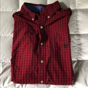 Chaps Long Sleeve Button Down (Red/Black Checker)
